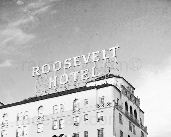 Los Angeles Photography, Roosevelt Hotel, Black and White Hollywood Photo, Vintage, Retro, California Print
