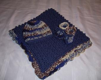 Crochet baby blanket set, baby boy, baby shower gift, newborn gift set