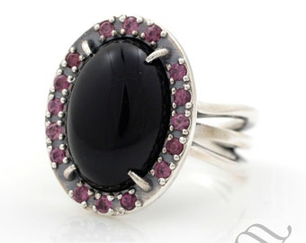 Onyx and Garnet Cocktail Ring - Sterling Silver