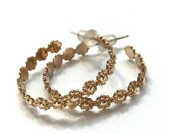 Large hoop earrings, gold filled  Flower earrings, simple hoop earrings, dangle earrings, bohemian hoops, hippie earrings - Divine E8032