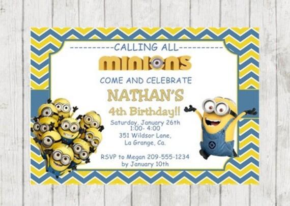 Minions birthday invitation minions party despicable me il570xn stopboris Image collections