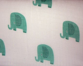 Elephant Double Gauze Fabric in Aqua by Riley Blake Designs - 1 Yard