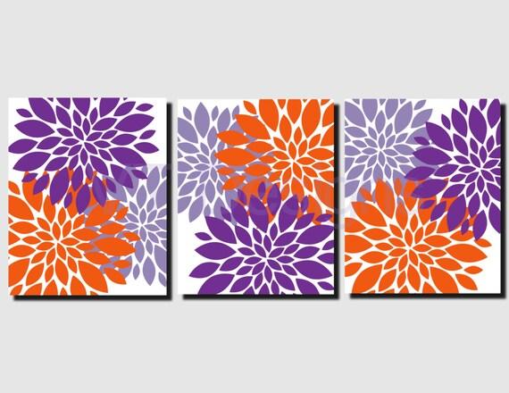 Orange Purple Lavender Wall Art Girls Bedroom Art Bathroom