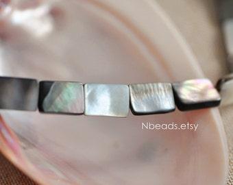 "Black Mother of Pearl Shell Rectangle Square beads 14x10mm (#V1238)/ 15.5"" Full strand"