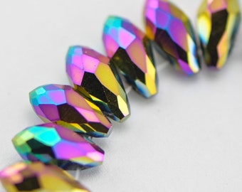 Crystal Faceted Teardrop, Glass Briolette beads 6x12mm , Sparkly Metallic Rainbow Colors - (HS06-47)/ 95 beads