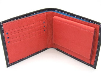 Black leather wallet with pop coin pocket, three card slots and notes pocket