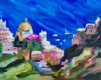 Positano Italy - Modern Impressionist Original Oil Landscape of Positano Italy by Rebecca Croft
