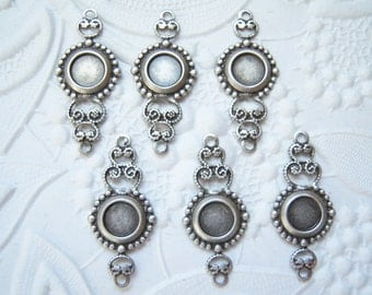 Antiqued silver filigree connector with a 5mm round setting, lot of (6) MC174