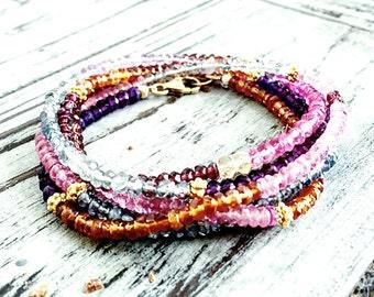 Heart of Glass Bohemian Gemstone Wrap Bracelet