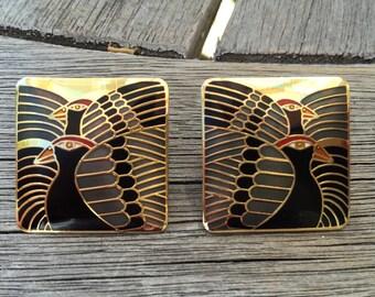 """Laurel Burch Cloisonne Art Deco Post Earrings, """"MOON DOVES"""" Vintage 1980's"""