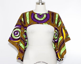 African Print Shrug Purple - One Size