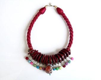 Statement Rope Necklace, Pom Pom Necklace, Red Jasper Necklace, Chunky Bib Necklace