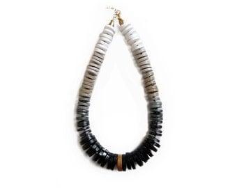 Minimalist Statement Necklace, Black and White Necklace, Modern Ombre Necklace, Chunky Necklace