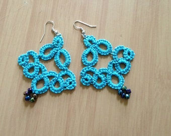 Tatted Chandelier Turquoise Earrings