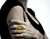 24K gold plated sterling silver geometry minimalist ring - statement ring