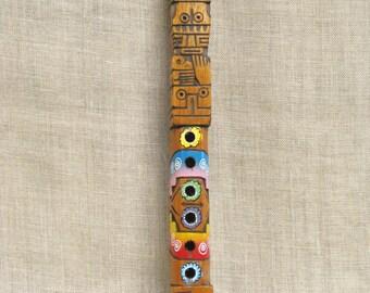 Flute, Musical Instrument, Woodwind, Flutes, Wooden Flute, Carved Wood, Music, Musical, Wood Carving, Handmade, Hand Carved, Primitive, Toy