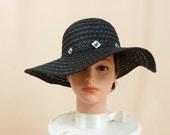 Black Straw Hat * Black Rhinestone Hat * Black Floppy Hat * Wide Brim Hat * Beach Hat * Sun Hat * Church Hat * Fashion Hat * Trendy Hat