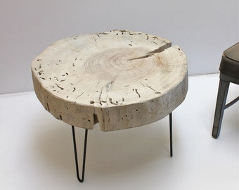 Stump Tree Slice Side Table White Glaze with Minimalist Steel Hairpin Legs Coffee Furniture