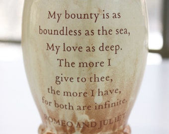 Shakespeare's Romeo and Juliet Love Quoted Ceramic Wine/Juice CUP or Coffee/Beer MUG