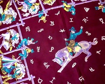 1940s Rayon Novelty Print Western Cowboy Ranch Scarf with Cowboys, Horses, Indians, Branding Marks, Cowpokes Hanging Around the Old Corral