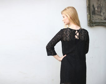 Black lace mini dress  / Black shift dress