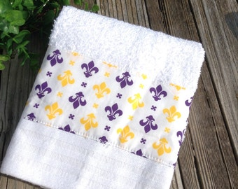 White towel with purple and yellow Fleur de lis insert decorative kitchen or bath hand towel-so cute