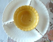 1950s California Pottery Lazy Susan Chip & Dip Appetizer Server