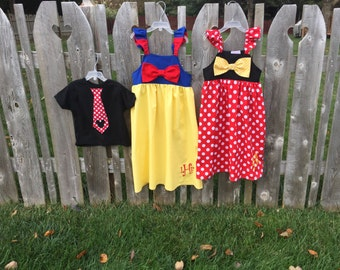 Disney fabric sibling clothing set,  two girls Dresses with matching boy tie, sizes 1-9, girls fall dress