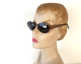 Vintage 90s YSL Monogrammed Sunglasses, Oval Frame, Metallic Brown, Charcoal Lens, Yves Saint Laurent, Model 6054, Deadstock, Made in Italy
