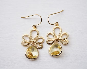 Citrine and gold dangle earrings - brides, wedding, gift - citrine