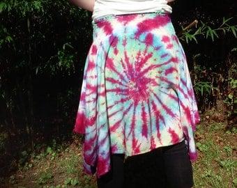 Tie Dye Hankie Hem Skirt, Tie Dye Skirt, Tie Dye Dress, Hankie Hem Skirt, Womens Clothing, Maternity Skirt, Size Medium