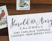 Custom Address Stamp, Personalized Address Stamp, Calligraphy Stamp, DIY, Rustic Wedding Address Stamp, Eco Mount or Self Inking - Avery
