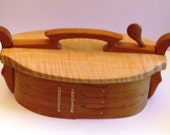 Reserved for kanchna1995  Cherry Wood Bentwood Box with Tiger Maple Lid
