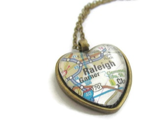 Raleigh Map Necklace, North Carolina Necklace,  Heart Pendant with Chain - Raleigh Jewelry - Bronzed or Silver