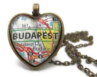 Budapest Map Necklace, Hungary Necklace, Heart Pendant with Chain, Silver or Bronze
