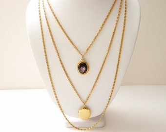 Goldette New York Multi-Strand Gold Chain Necklace with Locket and Rose Cameo