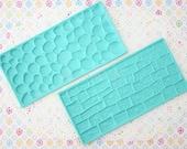 2 pcs - Sugar Lace Acrylic Mat - Round & Rectangular Stones -Mould Set - 15 cm x 7 cms - Ready to ship