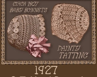SALE TAT 2 vintage BABY Bonnets 1920s pattern Christening Blessing Hat Cap pdf download