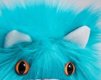 Catball -- furry cat handmade stuffed animal -- custom plush in bright teal faux fur
