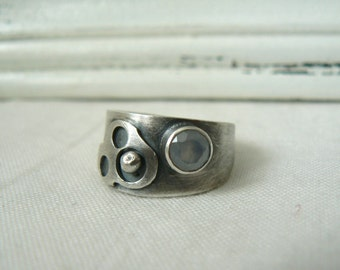 Oxidized Sterling silver and Blue Chalcedony Ring - SIZE 8 - READY to SHIP