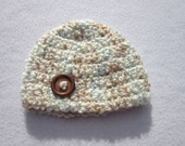 Baby Hat, Fluffy Cream Blue and Tan Baby Beanie with Button, Photo Prop, Soft Unisex Baby Cap, Crochet 3 to 6 months, Ready To Ship