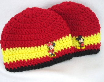 Mickey Mouse and Minnie Mouse Baby Hats, Crochet Baby Hat with Mickey or Minnie Mouse Button 0 to 3 Months by Charlene, READY TO SHIP