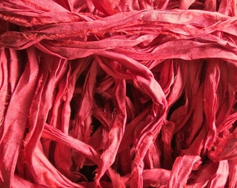Coral Recycled Sari Silk Ribbon Yarn 35 - 45 Yards for Jewelry Weaving Spinning & Mixed Media