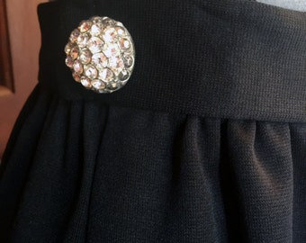 Black Pencil Skirt with rhinestone buttons