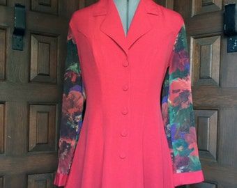 1980s Bright red jacket with sheer sleeves and back pleat