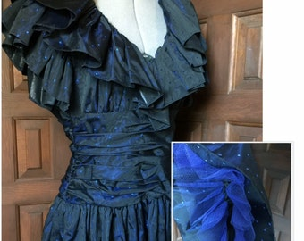 1980s Ruffled Dress in black and blue by Morton Myles