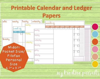 Midori Inserts- Weekly and Monthly Layouts, Bullet Journal Pages, Planner Pages, Ledger Papers, Printables