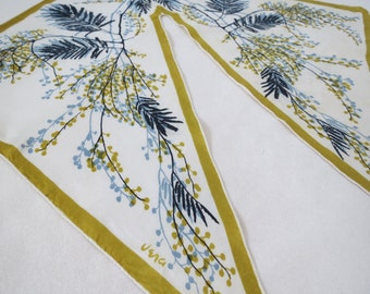"1950s Green and Blue Fern and Leaf Scarf Wing Tip by Vera Neumann - 16"" Square Pure Silk"