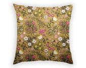 Throw Pillow - Floral on Mustard - Linen Pillow - 17 x17
