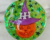 RESERVED ITEM, Jack-o-lantern Pumpkin Halloween Resin Ring, Witch Glitter Goth Spooky Halloween Ring, Green Opal Ring, Kawaii Fashion Ring